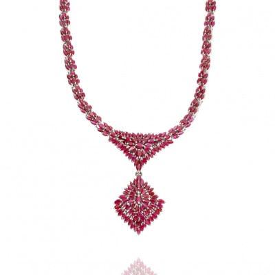 Naszyjnik srebrny kolia z rubinami