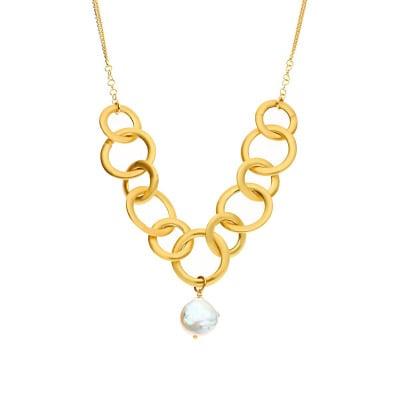 Naszyjnik srebro pozłacane duże ogniwa z perłą