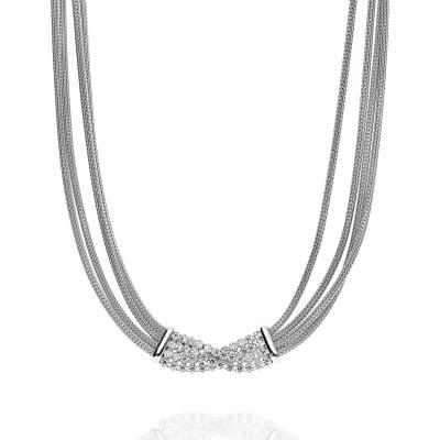 Naszyjnik srebrny szeroki z cyrkoniami