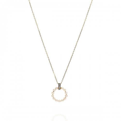 Naszyjnik złoty 585 kółeczko z perłami i diamentami