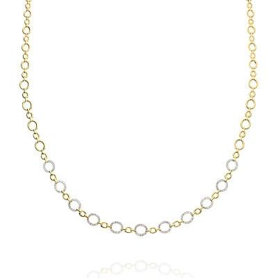 Naszyjnik z żółtego złota 585 kółka z diamentami