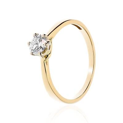 Pierścionek zaręczynowy złoty 585 z brylantem 0,41 ct w białej oprawie