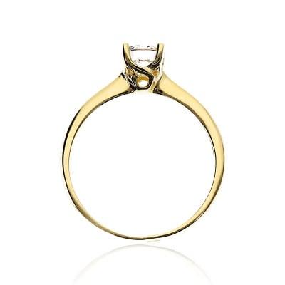 Pierścionek z żółtego złota 585 z cyrkonią