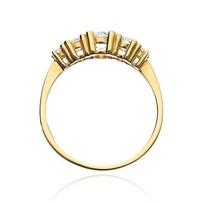 Pierścionek złoty  585 wielokamieniowy z cyrkoniami
