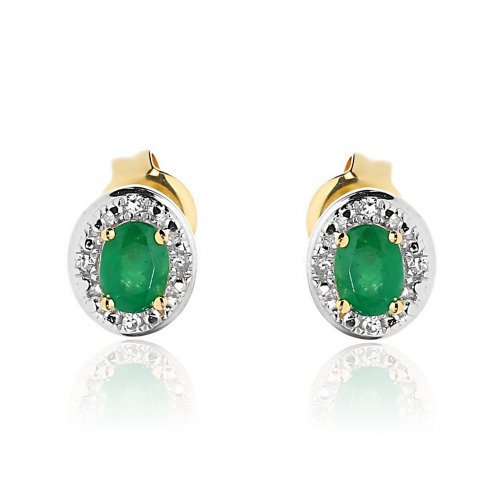 Kolczyki złote 585 z owalnymi szmaragdami i diamentami