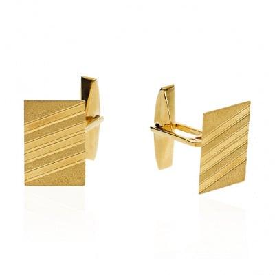 Złote spinki do mankietów prostokątne