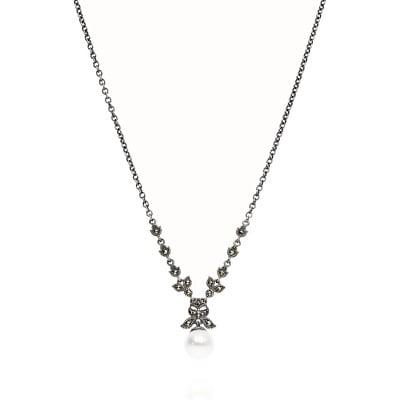 Naszyjnik kolia srebrna retro z wiszącą perłą  i markazytami