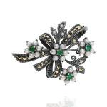 Broszka srebrna retro kwiatki ze szmaragdami, perłami i markazytami