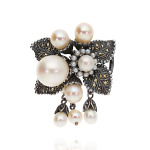 Broszka srebrna retro z perłami i markazytami