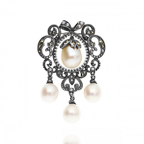 Broszka srebrna retro z wiszącymi perłami i markazytami