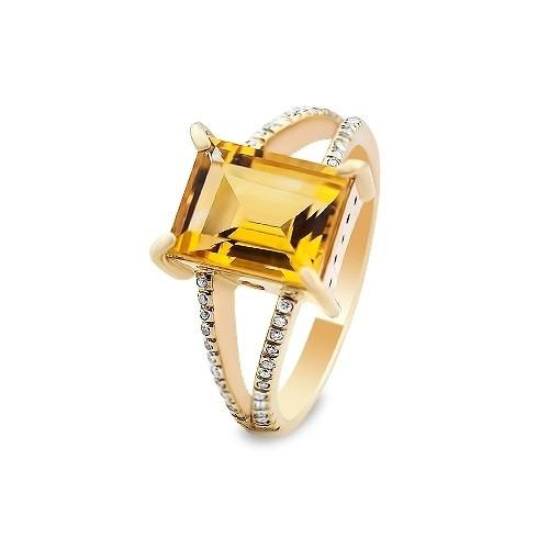 Pierścionek złoty 585 z prostokątnym cytrynem i brylantami