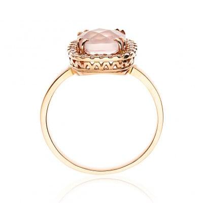 Pierścionek złoty z kwadratowym kwarcem różowym 2,06 ct i brylantami 0,30 ct Si/H