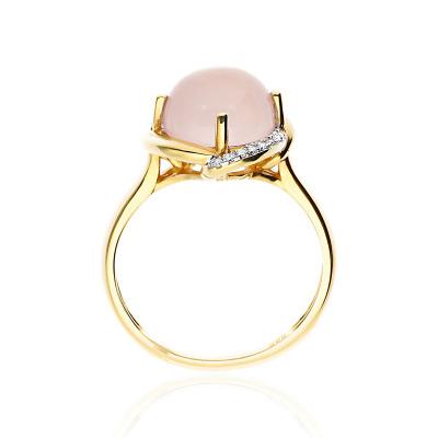 Pierścionek złoty 585 z kwarcem różowym 3,10 ct i diamentami 0,05 ct Si/H