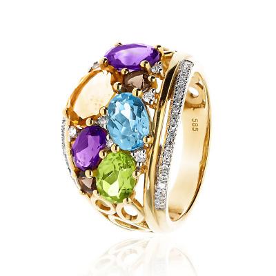 Pierścionek złoty szeroki z diamentami, oliwinem, topazem, ametystem, cytrynem i kwarcem dymnym