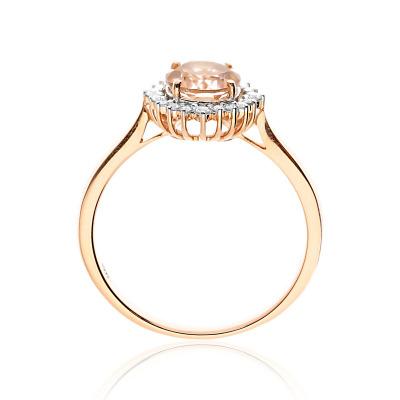 Pierścionek zaręczynowy z różowego złota 585 z okazałym morganitem i brylantami
