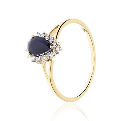 Pierścionek zaręczynowy ze złota 585 łezka szafirowa z brylantami