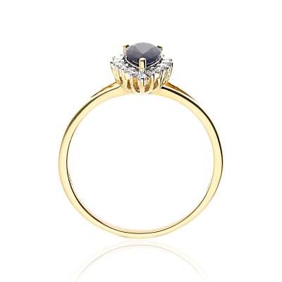 Pierścionek zaręczynowy ze złota 585 łezka szafir z brylantami