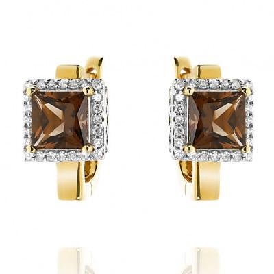 Kolczyki złote z kwarcami dymnymi 2,00 ct i diamentami 0,19 ct.
