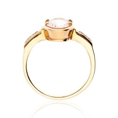 Pierścionek złoty z morganitem 1,92 ct i brylantami 0,05 ct Si/H