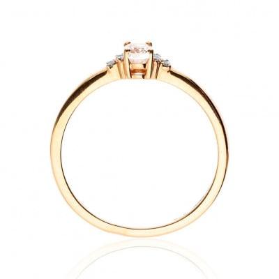 Pierścionek złoty z owalnym morganitem 0,27 ct i diamentami 0,05 ct Si/H