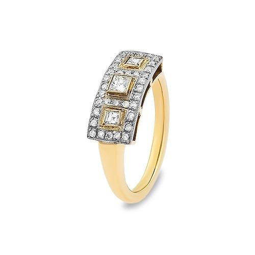 Pierścionek złoty 585 z diamentami