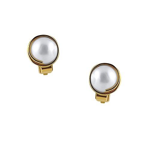 Klipsy złote z perłami