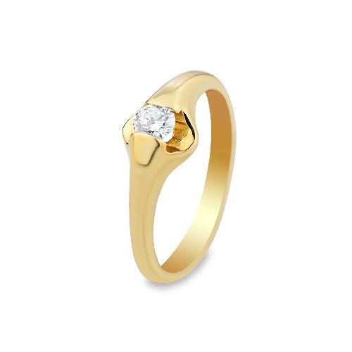 Pierścionek zaręczynowy z żółtego złota z brylantem 0,25 ct