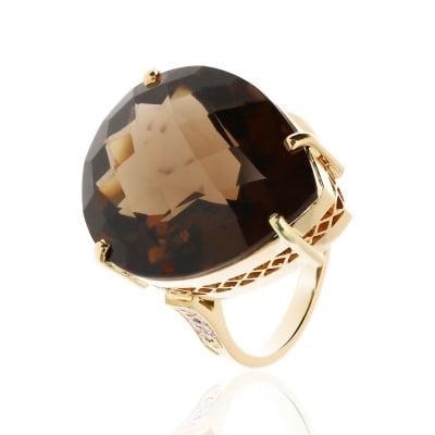 Pierścionek złoty z okazałym kwarcem dymnym i brylantami