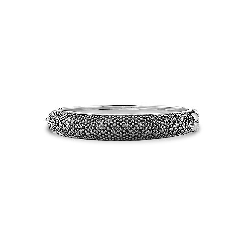 Bransoletka srebrna szeroka z markazytami