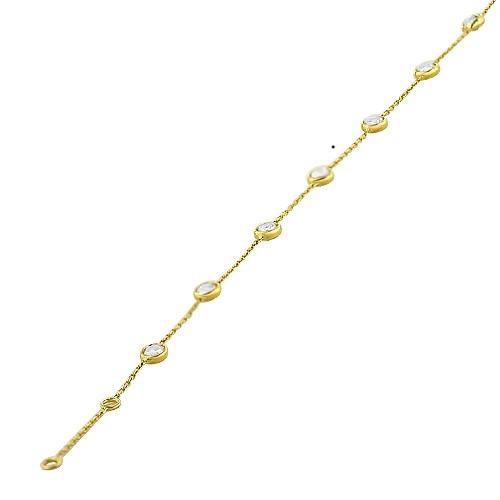 Łańcuszek złoty z cyrkoniami