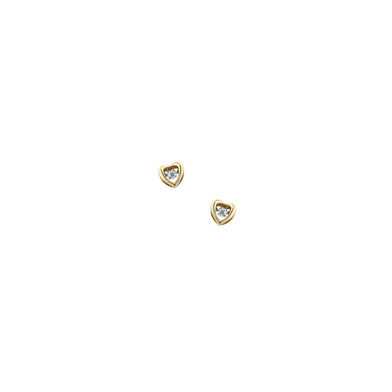 Kolczyki złote 0,585 serca z brylantami 0,28 kr