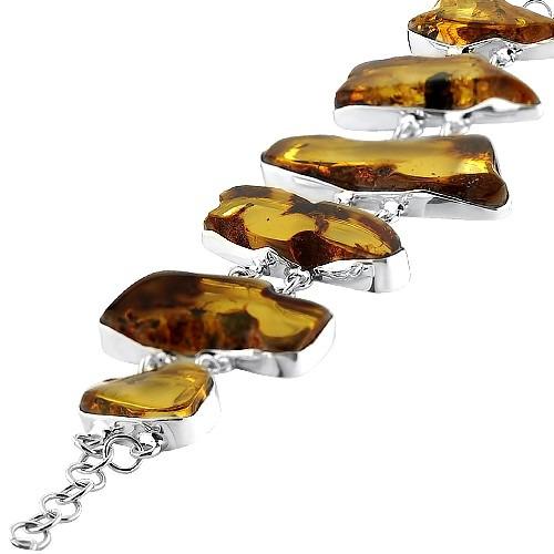 Bransoletka srebrna z okazałymi bursztynami