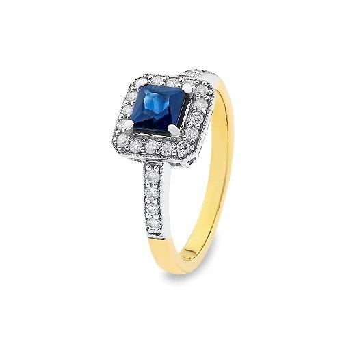 Złoty pierścionek z kwadratowym szafirem i brylantami