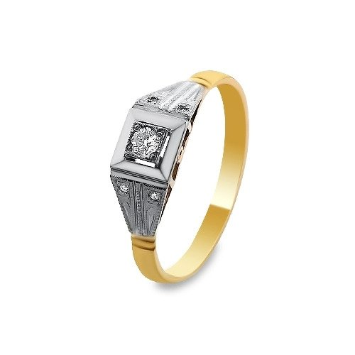 A&A Pierścionek wykonany w żółtym i białym złocie z brylantami 0,11 kt.