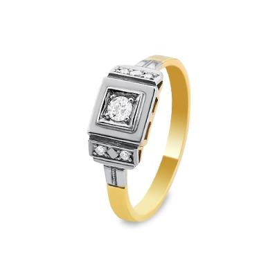 A&A Pierścionek wykonany w żółtym i białym złocie z brylantami 0,16 kt.