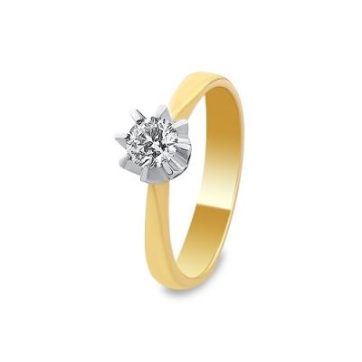 A&A Pierścionek wykonany w żółtym i białym złocie z brylantem 0,40 kt.