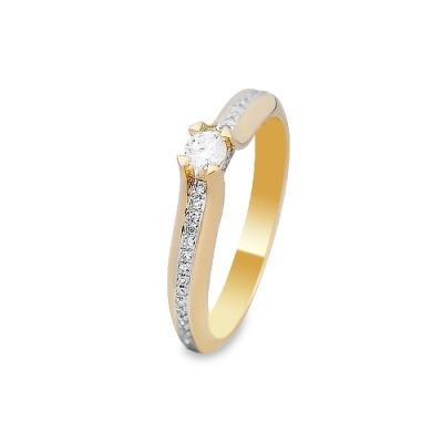 Pierścionek wykonany w żółtym i białym złocie z diamentami 0,21 kt.
