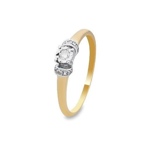 A&A Pierścionek wykonany w żółtym i białym złocie z diamentami 0,12 kt.