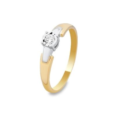 Pierścionek wykonany w żółtym i białym złocie z brylantem 0,09 kt.