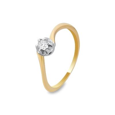 Pierścionek wykonany w żółtym i białym złocie z brylantem 0,08 kt.