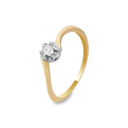 Pierścionek zaręczynowy złoty 585 z brylantem 0,08 ct.