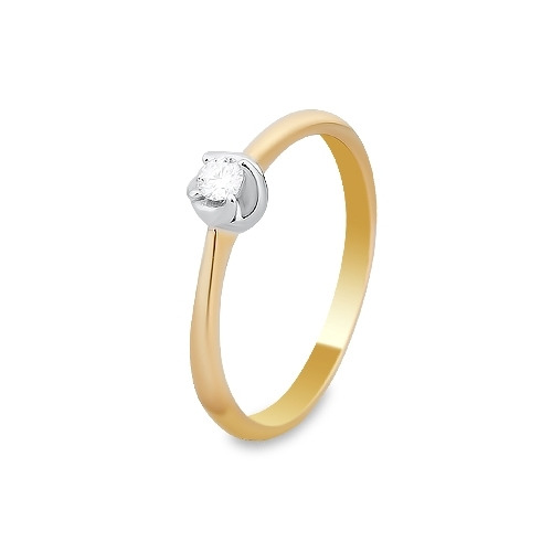 A&A Pierścionek wykonany w żółtym i białym złocie z brylantem 0,08 kt.
