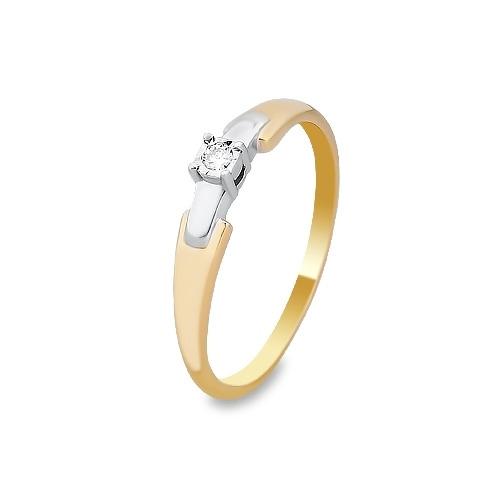 A&A Pierścionek wykonany w żółtym i białym złocie z brylantem 0,03 kt.