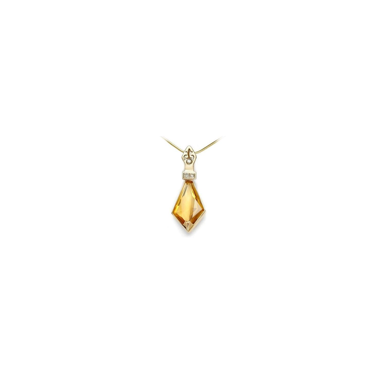 A&A złota zawieszka w kształcie miecza z brylantami i ostrzem z cytrynu