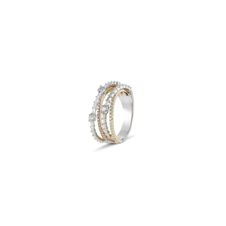 A&A Wyjątkowy brylantowy pierścionek z dwoma kolorami złota