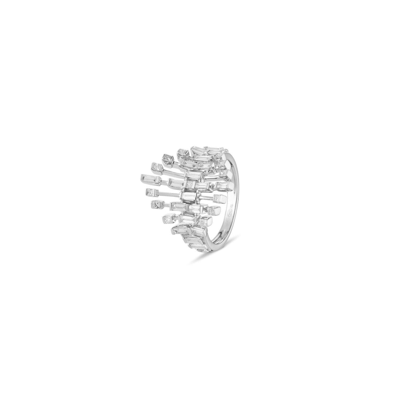 A&A Wyjątkowy diamentowy pierścionek z bagietowymi brylantami