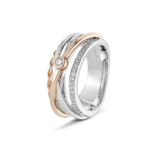 A&A Brylantowy pierścionek ze złotymi łukami