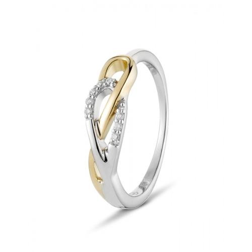 A&A Zakęcony pierścionek złoty z brylantami