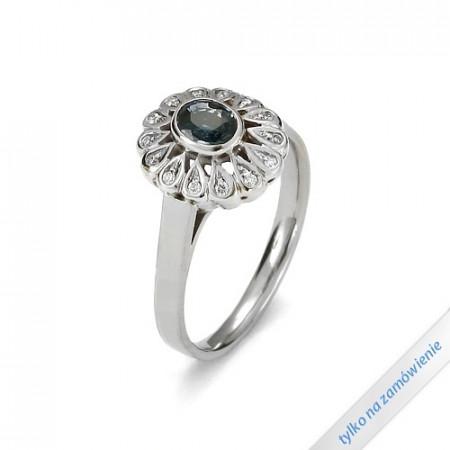 A&A złoty pierścionek z brylantami i szafirem