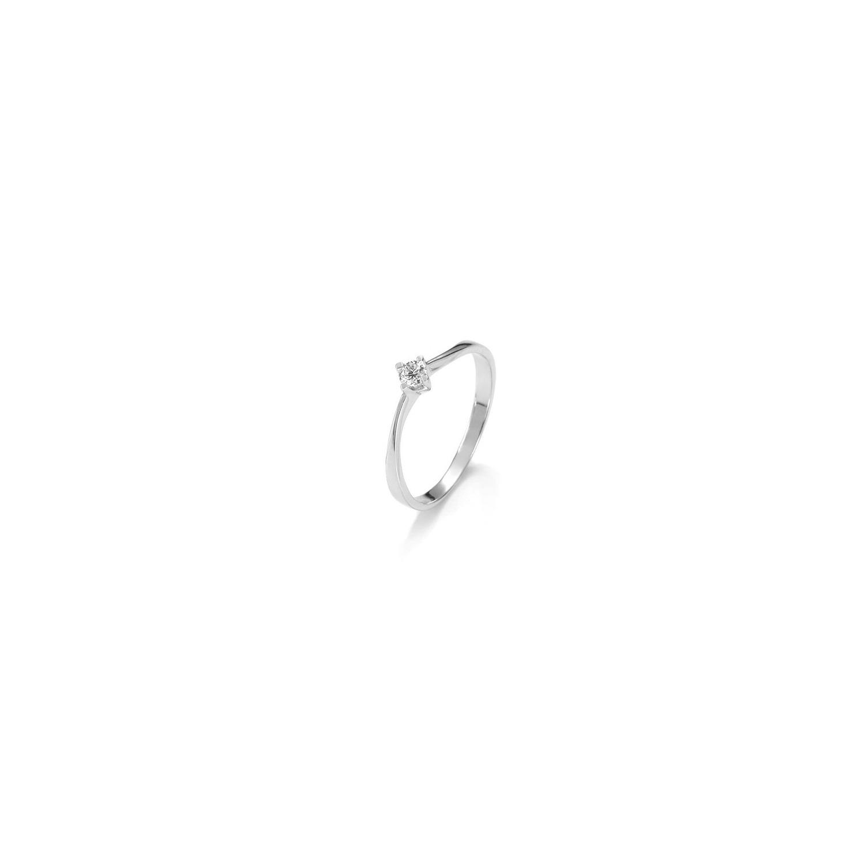 A&A złoty pierścionek z brylantem oprawionym w 4 łapki